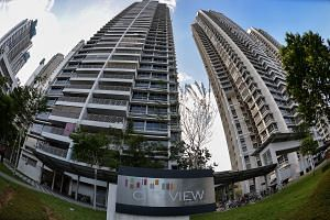 The couple who are selling the 28th-floor flat at City View in Kallang bought it for about $700,000 when the premium public housing project was launched in 2008. The five-room flat has views of the Sports Hub and the sea.