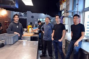 Food tech firm Grain's co-founders (from left) Yong Yi Sung, Isaac Tan, Ernest Sim and Gao Rifeng. In just two years, the firm has grown from an initial team of 10 to 60 today and recently moved to a new office and kitchen space almost 10 times the s