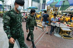 Thai security forces patrolling near the Erawan Shrine in Bangkok on Aug 14, 2016.