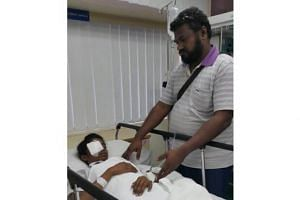Mr K. Letchmighandan with his niece before her operation at KPJ Specialist Hospital.