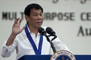 Filipino President Rodrigo Duterte speaks during the 115th Police Service Anniversary at the Philippine National Police (PNP) headquarters in Quezon City, east of Manila, Philippines on Aug 17.