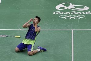 Malaysian badminton world No. 1 Lee Chong Wei in ecstasy after needing four match points to knock out Lin Dan. His bigger task is now to defeat another Chinese, Chen Long, in today's final.