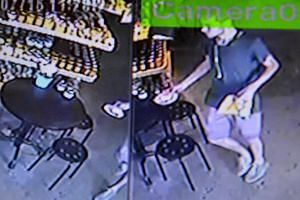 Above: David James Roach is being held at Bangkok's immigration detention centre. Left: A man resembling Roach seen in surveillance camera footage at a nearby cafe soon after the robbery on July 7.