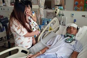 Mr Lee fell into a coma after his motorcycle was hit by a falling tree in Admiralty Road West on July 20.