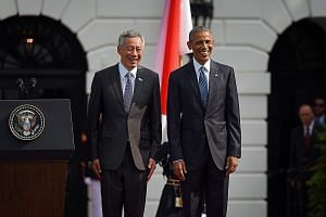 Mr Lee with US President Barack Obama at the White House earlier this month. Mr Lee was hosted to a state dinner, the first for a Singapore prime minister in more than three decades.