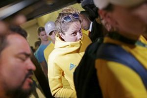 Olympic athletes from Australia leave a police station after being questioned by Brazilian police late on Friday (Aug 20).