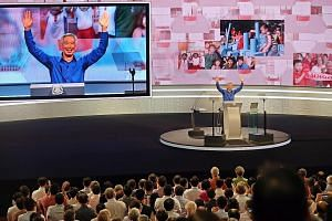 PM Lee acknowledging the standing ovation from the audience after delivering the National Day Rally speech at the Institute of Technical Education College Central.