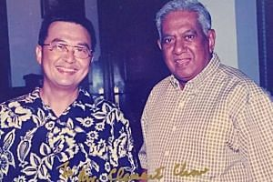 Local singer and composer Clement Chow with Mr S R Nathan.