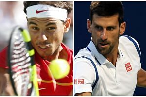 Two-time champion Rafael Nadal (left) and defending champion Novak Djokovic could potentially meet in the US Open semis.