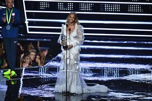 Singer Beyonce accepts an award on stage during the 2016 MTV Video Music Award at the Madison Square Garden in New York on August 28.