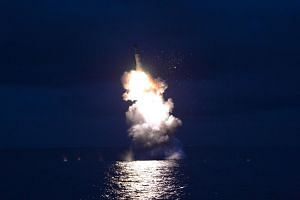 This undated picture released from North Korea's official Korean Central News Agency (KCNA) on Aug 25, 2016 shows a test-firing of strategic submarine-launched ballistic missile at an undisclosed location.