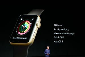 Tim Cook introduces Apple Watch series 2, featuring built-in GPS and much better water resistance.
