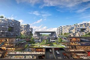 An artist's impression of the new HDB town in Tengah.