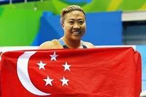 Swimmer Theresa Goh celebrating her bronze medal win in the 100m breaststroke SB4 final at the Rio Paralympics on Sunday evening. It was the 29-year-old's first Paralympic medal after four Games spanning 12 years, and followed fellow swimmer Yip Pin