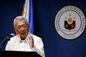 Philippines Foreign Affairs Secretary Perfecto Yasay speaking at the Department of Foreign Affairs in Pasay city in Metro Manila on July 27, 2016.