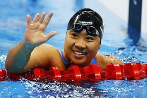 Singapore's Theresa Goh celebrates after winning the bronze medal in the 100m breaststroke SB4 at the Rio Paralympics.