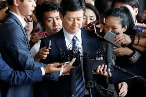 Shin Dong-joo, former vice-chairman of Lotte Holdings, arrives at a prosecutor's office in Seoul on Sept 1, 2016.