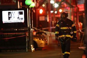 A firefighter at the scene of the explosion in Chelsea, Manhattan on Sept 17, 2016 in New York City.