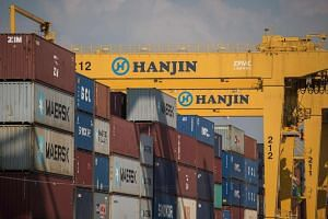 A general view of the Hanjin Incheon Container Terminal in Seoul.