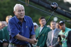Arnold Palmer hitting one of three honourary first tee shots on the first hole for the first round at the 2015 Masters Tournament at the Augusta National Golf Club in Augusta, Georgia, US, on April 9, 2015.