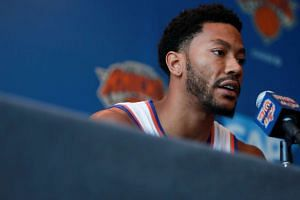 New York Knicks point guard Derrick Rose speaking to the media in White Plains, NY, on Sept 26, 2016.