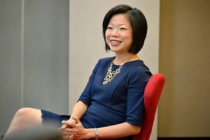 Minister of State for Communications and Information Sim Ann during an interview with The Straits Times on Feb 10, 2015.
