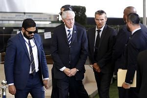 Former US President Bill Clinton (centre) arrives for the funeral of former Israeli president Shimon Peres at Jerusalem's Mount Herzl national cemetery on Sept 30, 2016.