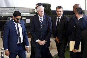 Former US President Bill Clinton (centre) arrives for the funeral of former Israeli president Shimon Peres at Jerusalem's Mount Herzl national cemetery on Sept 30, 2016.