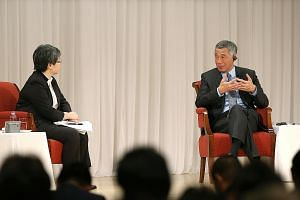 "Mr Lee speaking at a session moderated by Nikkei Asian Review editor- in-chief Sonoko Watanabe at the Imperial Hotel in Tokyo yesterday. Mr Lee said he hopes Japan will continue to play an ""active and constructive role"" in Asia, especially South-east"