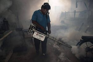 A city worker sprays chemicals with a fumigator to kill mosquitoes in an effort to control the spread of the Zika virus at a school in Bangkok.