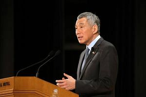 PM Lee Hsien Loong delivering his keynote address at the Special Session of the Nikkei 22nd International Conference on the Future of Asia on Sept 29, 2016.