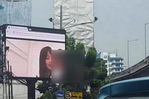 A large outdoor television screen in South Jakarta displayed an adult video on Friday (Sept 30). The South Jakarta administration turned off power to the screen following reports from passers-by.