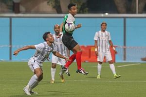 A brawl broke out during a Football Association Cup first-round match between Balestier United Recreation Club (in grey and white stripes) and Safsa (in green) at the Gombak Stadium.