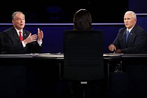Republican Mike Pence (right), Democrat Tim Kaine and moderator Elaine Quijano during the only vice-presidential debate at Longwood University in Farmville, Virginia.