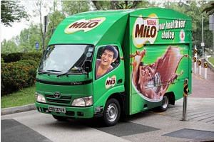 """Earlier, Nathan Hartono vowed that """"if I win, I will rent a fleet of Milo vans and treat everybody to Milo peng (iced Milo)""""."""