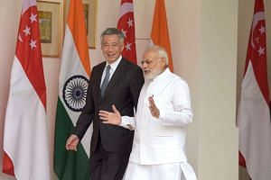 Prime Minister Lee Hsien Loong meets Indian Prime Minister Narendra Modi at the Hyderabad House, New Delhi on Oct 4, 2016.