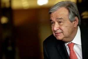 Antonio Guterres speaking to reporters on the selection of the next UN Secretary-General in April 2016.