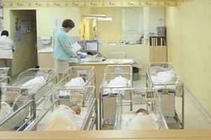 Newborn babies in a nursery at the Thomson Medical Centre, where the IVF mix-up occurred.