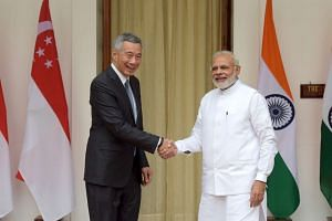 Prime Minister Lee Hsien Loong (left), meeting with Indian Prime Minister Narendra Modi at the Hyderabad House in New Delhi on Oct 4, 2016.