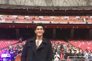 Nathan Hartono at the Beijing National Stadium in between rehearsals yesterday.