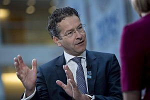 Chairman of euro zone finance ministers Jeroen Dijsselbloem speaks at the IMF and World Bank annual meetings.