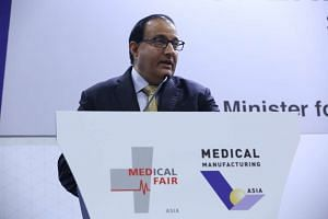 Mr S Iswaran, Minister for Trade and Industry (Industry), speaking at the opening ceremony of two trade exibitions, Medical Fair Asia and Medical Manufacturing Asia, on Aug 31, 2016.