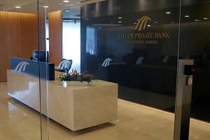 The reception area of Falcon Private Bank's Singapore office at Centennial Tower.