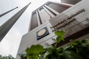An exterior view of the Monetary Authority of Singapore (MAS) in Singapore.