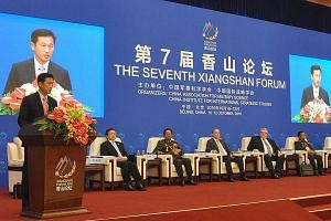 Mr Ong speaking on Tuesday at the annual Xiangshan Forum in Beijing, where he highlighted how adhering to an rules-based international system will allow all countries to prosper in the age of globalisation.