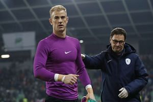 England's Joe Hart at the end of the match.