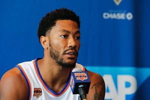 Derrick Rose speaking at a press conference during the New York Knicks Media Day on Sept 26, 2106.