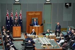 PM Lee Hsien Loong speaks at the joint sitting of the Australian Parliament at Canberra's Parliament House.