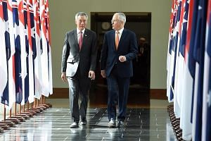 PM Lee leaving Australia's Parliament House with Australian Prime Minister Malcolm Turnbull after his historic address yesterday. Mr Lee said the shared history, outlook and ethos between Singapore and Australia have formed the foundation of a