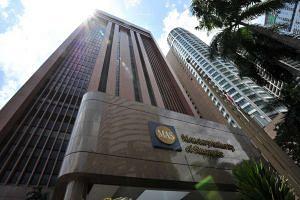 Facade of Monetary Authority of Singapore (MAS) Building at 10 Shenton Way.